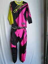 "ONEAL Youth motocross BMX combo set pants 29"" waist & jersey sz LARGE bk/pk/yl"