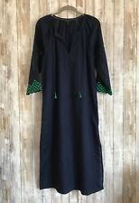 J.CREW EYELET CAFTAN EMBROIDERED BEACH COVER-UP LINEN DRESS NAVY BLUE G6495 XS *