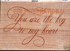 You Are The Key To My Heart ~ ANNA GRIFFIN Wood Mount Rubber Stamp #580H41 New