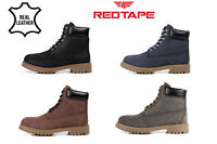 Red Tape Mens Leather Smart Casual Lace Up Ankle Retro Boots Work Shoes Size UK