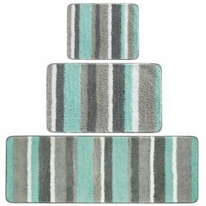 mDesign Striped Microfiber Bathroom Spa Mat Rugs/Runner, Set of 3 - Mint/Gray