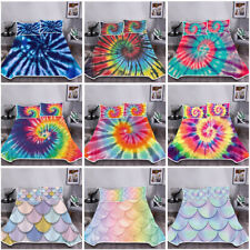 Mermaid Tie-dye Blanket Bedding Set Summer Cool Comfortable with Pillowcase 3pcs