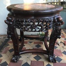More details for beautiful 19th century antique chinese hand-carved dark hardwood & marble table