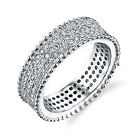 Women's Cubic Zirconia 3-Row wide Sterling Silver CZ Wedding Band formal