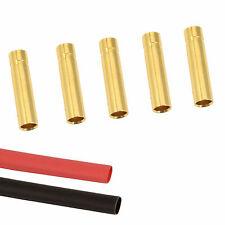 5 X conector de bala de oro RC 4mm Hembra + Calor Shrink Lipo Batería ESC motor