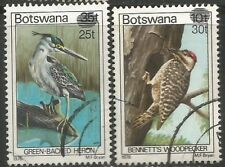 BOTSWANA 1981 BIRD DEFINITIVE SURCHARGES Sc#289-90 COMPLETE USED SET 1526