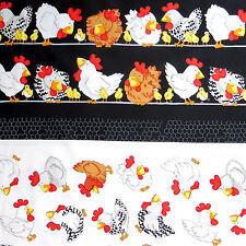 Kanvas Cotton Quilting Fabric DOUBLE BORDER 'Hen Pecked' Farmyard Coop Hen Chick
