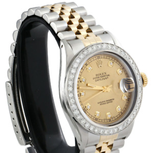 Rolex Date Just Diamond Mens 36mm Watch 18K Two Tone Jubilee Champagne Dial 2 CT