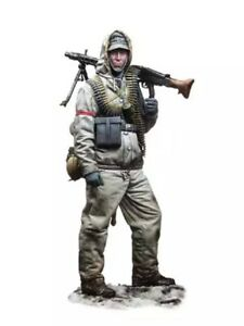 1/16 Resin Figure Model Kit German Soldier Machine Gunner WWII WW2 Unpainted