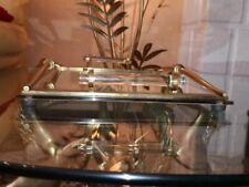 René PROU (1889-1947)  Plateau miroir et verre et bronze doré art deco