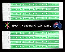 100 x Under Age Tyvek, party, security, wristbands