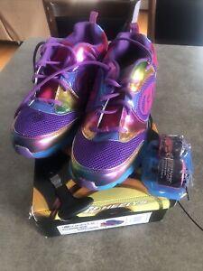 Heelys Race Purple Rainbow Shoes Size 8 Men's / 9 women's New With Defects