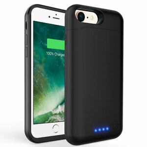 for iPhone 8 & 7 & 6 & 5 Battery Case Slim Extended Batery Backup Black