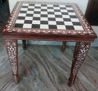 """18"""" Chess Board table Square Center / Side Table Inlay Work Foldable Home Decor"""