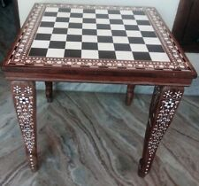 "18"" Chess Board table Square Center / Side Table Inlay Work Foldable Home Decor"
