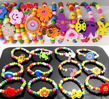 Lot de 60 Bracelet Enfant Elastique En Bois 12 Styles Petite Fille Bijoux