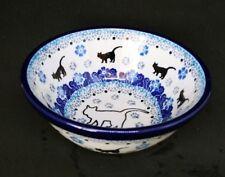 "Ceramic Pottery 5"" Dish Made in Poland Cats Bowl"