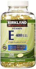 KIRKLAND SIGNATURE VITAMIN E 400 I.U. 500 SOFT GELS .EXP 07-2021