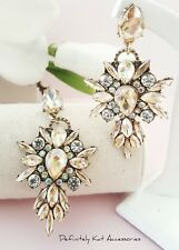 Statement champagne & white crystal drop cluster cocktail chandelier earrings