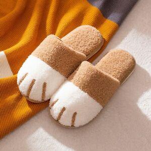 Women Fluffy Slip On Slippers Cute Winter Warm House Fur Bedroom Shoes Slides