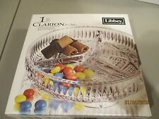 Libbey Clarion Glass Candy dish - 3 section - 7 inch - NIB