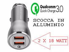 CARICABATTERIE RAPIDO 18 watt x 2 VELOCE DUAL USB Auto CARICATORE accendisigari
