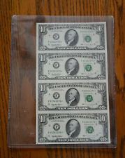 1995 $10 Star 4 Note Uncut Sheet Atlanta District Free Shipping!!!