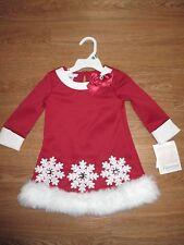 NWT Bonnie Baby, 18 M Christmas Holiday Santa Snowflake Dress & Bloomer Set
