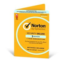 Symantec Norton Internet Security Deluxe 2017 Antivirus 3 Users 1 Year PC Mac