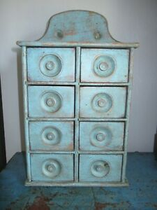 8 Drawer Oak Spice Cabinet/Box/Cupboard/Apothecary-Primitive-Blue Paint