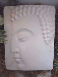 "Buddha face plastic mold cement plaster concrete mould 9"" x 7.5"""