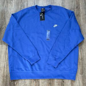 Nike Sportswear Mens Club Fleece Crewneck Sweatshirt Blue Sz 3XL Tall BV2662-430