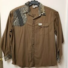 Mens Team Realtree L/S Button Up Shirt Camo Size XXL XX-Large Quilted Shoulder