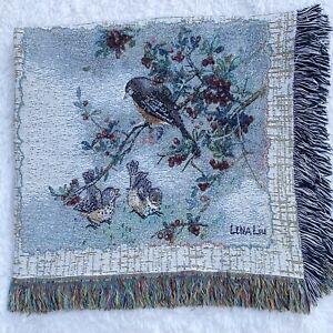 Birds Lena Liu Fringed Woven Tapestry Blanket Throw Afghan Blue Cardinals Robins