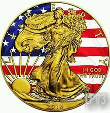 PATRIOTIC LIBERTY FLAG - 2016 1 oz American Silver Eagle Coin - Color  24K Gold.