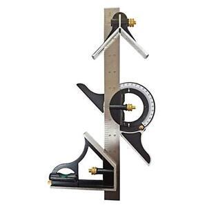 "12"" Combination Set Square Heavy Duty Metal Adjustable Protractor Ruler Level"