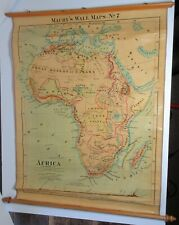 Antique AFRICA MAURY'S WALL MAP PULL DOWN 1872 JACOB WELLS 19th Century