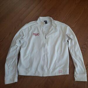 Nike NYC Size Large White Zip Up Athletic Long Sleeve Golf Tennis Track Jacket