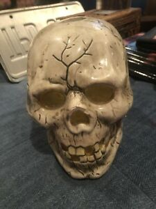 6 Inch Ceramic Skull Tealight Holder Halloween Holiday Scary