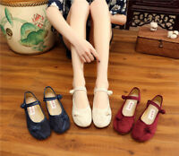 Women's Chinese Ethnic Embroidery  Flat Mary Jane Oxford Ballet shoes Solid