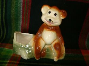 Vintage American Bisque Bear and Log Pottery Planter Baby Shower Gift 1950's