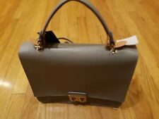 NWT Furla Bella Top Handle M Bag Light Grey Leather Made in Italy