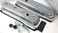 SB Chevy SBC Polished Finned Center Bolt Aluminum Valve Cover Kit 305 350 87-95