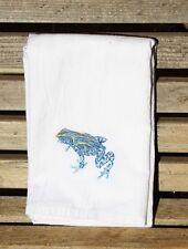 Blue dart frog embroidered on a flour sack tea dish towel cotton 26x27