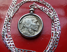 "Rare Full Horn 1936 US  Buffalo Nickel Pendant  30"" .925 Silver Chain"