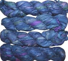100g Sari Silk Ribbon craft ribbon, jewelry making Blue multi