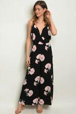 Women's Casual Summer Black Sleeveless Floral Print Romper Jumpsuit