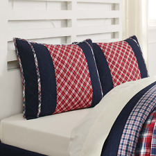 Patchwork Queen Quilt Set Americana Red White and Blue Cotton