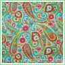 BonEful Fabric FQ Cotton Quilt VTG White Pink Blue PAISLEY FLOWER Boho Victorian