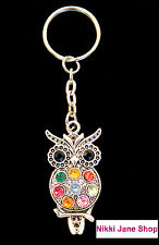 Beautiful Owl Keyring With Mixed Multi Coloured Rhinestones in Organza Bag